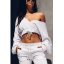 Ladies Fashionable White V-Neck Embroidery Letter Printed Long Sleeve Drawstring-Hem Sexy Cropped Sweatshirt