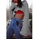 Cool Black and White Plaid Pattern Cutout Bell Long Sleeve Sunscreen Crop Drawstring Hoodie