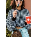Womens Fashion Houndstooth Pattern Contrast Trim Long Sleeve Round Neck Cropped Sweatshirt
