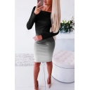 Womens Sexy Color Ombre Long Sleeve Midi Bodycon Dress