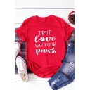Summer Cute Letter TRUE LOVE HAS FOUR PAWS Printed Rolled Sleeve Red Loose T-Shirt