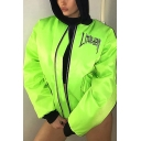 Fluorescent Green LITTLE DEVIL Letter Printed Contrast Trim Long Sleeve Zip Up Loose Baseball Jacket