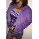 Womens Fashionable Purple Open Front Long Sleeve Plush Fleece Cropped Cardigan Jacket Coat