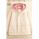 Girls Chic Winter Warm POSITIVE Printed Back Colorblock Hood Flap Pocket Cargo Padded Coat