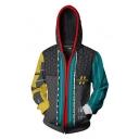 Mens Stylish 3D Printed Color Block Long Sleeve Side Pocket Zip Up Dark Gray Drawstring Hoodie