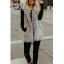 Ladies Elegant Gray Sleeveless Open Front Longline Teddy Bear Hooded Vest Coat with Pocket