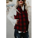 Womens Classic Plaid Sleeveless Stand Collar Zipper Slim Fit Thick Vest Coat