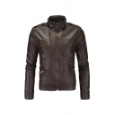 Guys Plain Stand Collar Long Sleeve Flap Pocket Zip Up PU Leather Casual Jacket with Epaulets