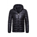 Mens Winter Popular Plain Long Sleeve Zip Up Slim Fit Hooded Down Coat