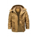 Men's Washed Cotton Multi-Pocket Sherpa Lined Khaki Utility Jacket with Hood