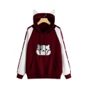 Cute Cat Printed Long Sleeve Color Block Panelled Long Sleeve Loose Casual Hoodie for Juniors