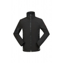 Mens Sportive Black High Collar Long Sleeve Zip Closure Waterproof Hooded Jacket Windbreaker