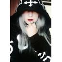 Women Gothic Punk Zip Up Long Sleeve Moon Print Black Hoodie with Pocket