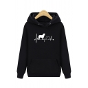 Unisex Casual Dog and Heartbeats Printed Long Sleeve Simple Drawstring Hoodie