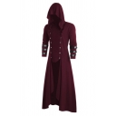 Gothic Colorblock Striped Long Sleeve Button Embellished Wine Red High Low Asymmetrical Hooded Dress