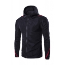 Mens Simple Tape Panel Long Sleeve Zip Closure Fitted Track Jacket with Hood