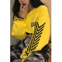 Yellow GOGUY Letter Chest Arrow Printed Long Sleeve Baggy Cropped Drawstring Hoodie