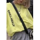 Womens Fall Stylish Yellow EANCY MENTA Printed Long Sleeve Drawstring Hem Loose Fit Pullover Sweatshirt
