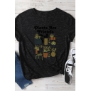 Simple PLANTS ARE FRIEND Letter Printed Short Sleeve Crew Neck Oversized Marbled T-Shirt