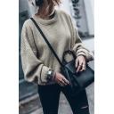 Womens Fashion Khaki Plain Balloon Long Sleeve  Round Neck Loose Casual Pullover Sweater
