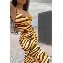 Classic Tiger Printed Sleeveless Slim Fit Sexy Maxi Cami Dress for Women