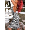 Womens Summer Popular Zebra Printed Backless Ruched Drawstring Side Black Fitted Mini Cami Dress