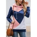 Womens Popular Colorblock Cut-and-Sew Long Sleeve Slim Fit Casual Drawstring Hoodie