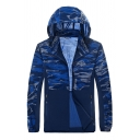 Mens Popular Dark Blue Camo Patch Long Sleeve Zip Placket Slim Fit Breathable Track Jacket with Hood