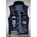 Hip Hop DIAMONDHAIE Letter Star Printed Sleeveless Lapel Single Breasted Dark Blue Cool Denim Vest