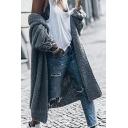 Solid Color Long Sleeve Open Front Longline Casual Dark Gray Cardigan Coat