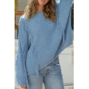 Womens Popular Blue Tassel Long Sleeve Leisure Oversized Pullover Sweater