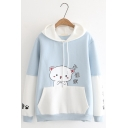 Chinese Letter Cute Cat Printed Long Sleeve Colorblocked Pocket Winter Drawstring Hoodie