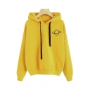 Womens Fashionable Planet Print Long Sleeve Relaxed Casual Drawstring Hoodie