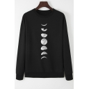 Womens Simple Moon Phase Pattern Long Sleeve Crewneck Casual Loose Sweatshirt