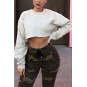 White Solid Color Crew Neck Long Sleeve Cropped Loose Sweatshirt