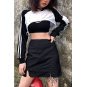 Sexy Black and White Stripe Long Sleeve  Cutout  Drawstring Hem Crop Sweatshirt