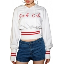 Popular Letter SUCH CUTE Printed Striped Trim Long Sleeve White Crop Drawstring Hoodie