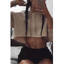 Womens Simple Plain Khaki Long Sleeve Drawstring Cropped Hoodie