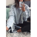 Womens Stylish Fringed Long Seeves Plain Chic Loose Cropped Pullover Sweatshirt