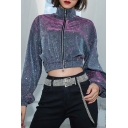 Hip Hop Plain Metallic Blingbling Fashion Stand-Up Collar Zip Up Cropped Jacket Coat