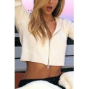 Fall Popular White Long Sleeve Zip Up Ribbed Cropped Hooded Jacket Coat