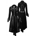 Steampunk Gothic Costume Vintage Floral Print Single Breasted Victorian Longline Medieval Formal Coat