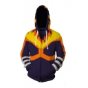 3D Fire Printed Stripe Long Sleeve Zip Up Drawstring Hoodie with Pocket