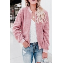 Stylish Pink Plain Stand Collar Long Sleeve Zipper Teddy Bear Jacket Coat