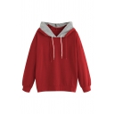Women's Simple Color Block Panel Drawstring Hood Long Sleeve Loose Pullover Hoodie