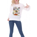 Fancy Cartoon Pattern Printed Long Sleeve White Slim Fit Pullover Sweatshirt