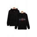 Unisex Fancy Letter LOVER LOSER Printed Long Sleeve Zip Up Loose Fleece Hoodie