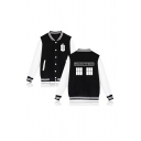 Geometric Letter POLICE BOX Printed Long Sleeve Single Breasted Casual Baseball Jacket
