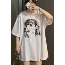 Harajuku Style Cartoon Girl Pattern Half Sleeve Casual Longline Oversized T-Shirt