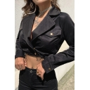 Womens Casual Plain Black Long Sleeve Flap Pocket Drawstring Hem Snap Button Cropped Blazer Jacket